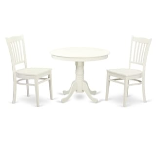 ANGR-LWH-W  3  Pc set with a Table and 2 Wood Dinette Chairs