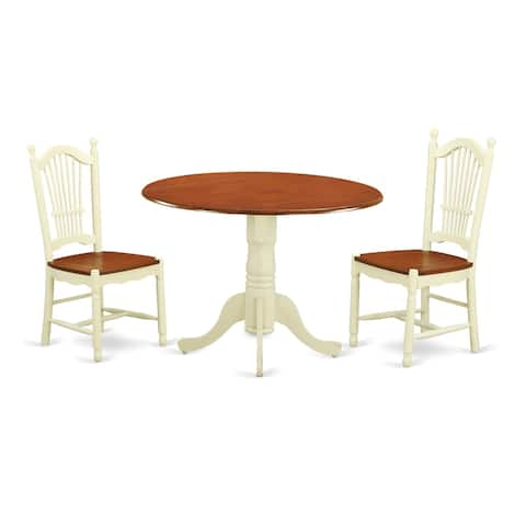 DLDO3-W 3 PC Kitchen dinette set-Kitchen Table and 2 Chairs