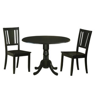 DLDU3 BLK 3 Pc Kitchen Table Set For 2 Dinette Table And 2 Chairs