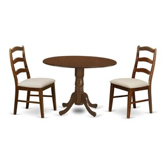 "DLHE-ESP-C  3  Pc Dining Table with 29"" drop-leaf and 2 Seat Chairs - Espresso finish"