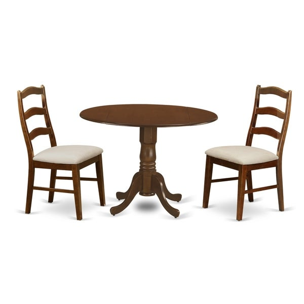 """DLHE-ESP-C 3 Pc Dining Table with 29"""" drop-leaf and 2 Seat Chairs - Espresso finish"""