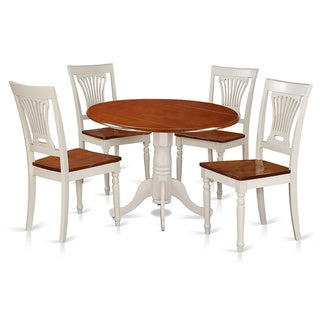 DLPL5-BMK  5 PC Kitchen set-Dining Table and 4 Wooden Kitchen Chairs - White