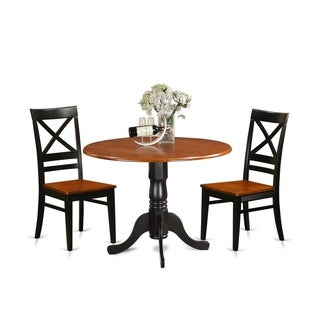 DLQU3-W  3 PC Kitchen Table set-Dining Table and 2  Kitchen Chairs