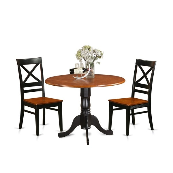 Dining Table Set For 2 Chairs 3 Piece Kitchen Room: Shop DLQU3-W 3 PC Kitchen Table Set-Dining Table And 2