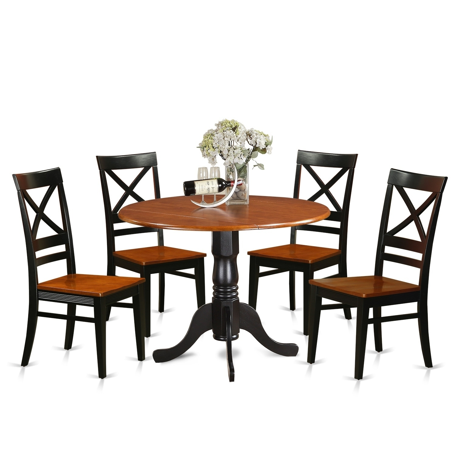 East West Furniture 5 Piece Dining Table and 4 Wooden Kitchen Chairs ...