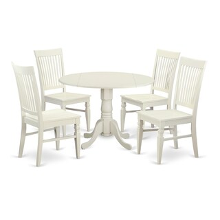 DLWE5-W 5 PC small Kitchen Table set - Table and 4 Dining Chairs (2 options available)