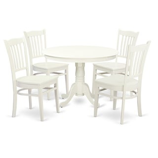 HLGR5-LWH-W HLGR-LWH-W  3  Pc set with a Round Table and 2 Wood Dinette Chairs (5-Piece Sets - 4)