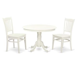 HLGR5-LWH-W HLGR-LWH-W  3  Pc set with a Round Table and 2 Wood Dinette Chairs (3-Piece Sets - 2)