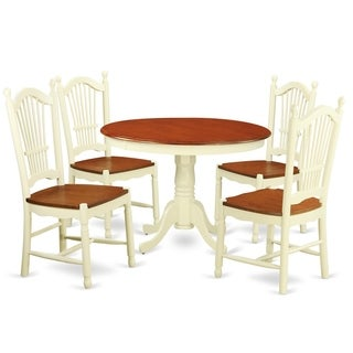 HLDO5-W 5 Pc set with a Small Table and 4 Leather Kitchen Chairs  sc 1 st  Overstock & Leather Kitchen u0026 Dining Room Sets For Less | Overstock.com