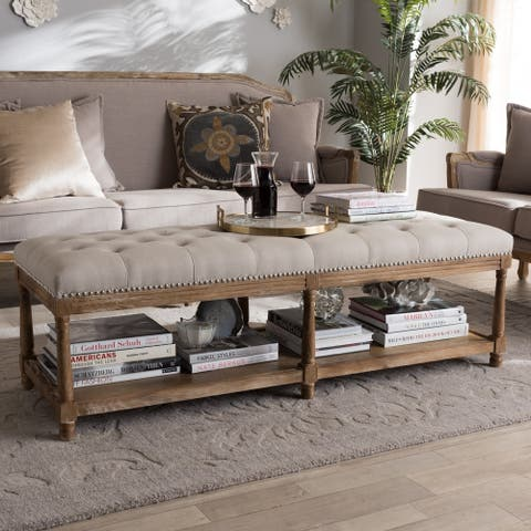 French Country Beige cotton-Linen Bench by Baxton Studio