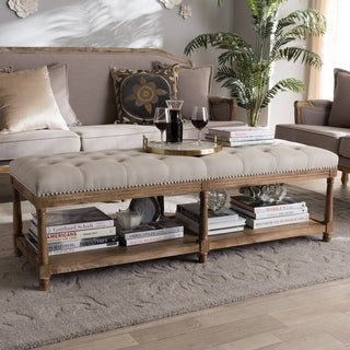 French Country Beige Linen Bench by Baxton Studio
