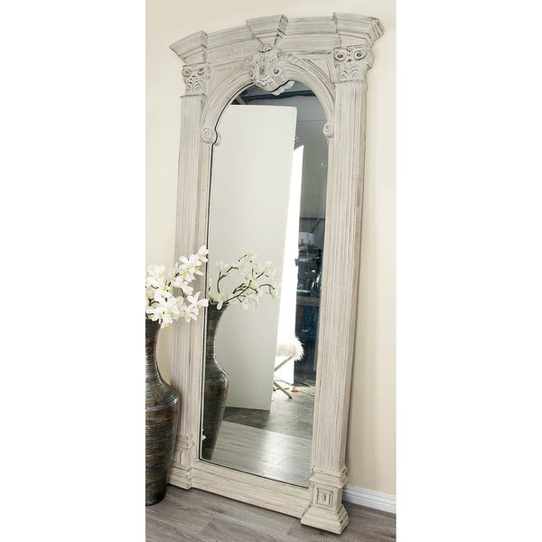 Traditional Vintage White Column Frame Wall Mirror by Studio 350 - Grey