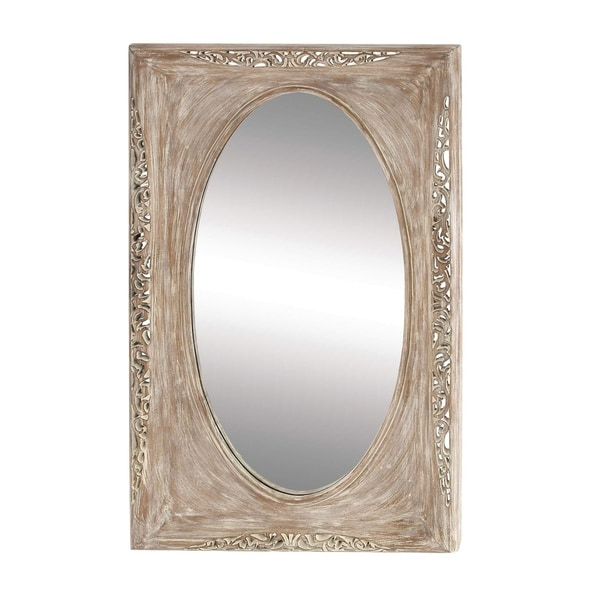 Studio 350 Pu Wood Wall Mirror 85 inches wide, 47 inches high - Light Brown