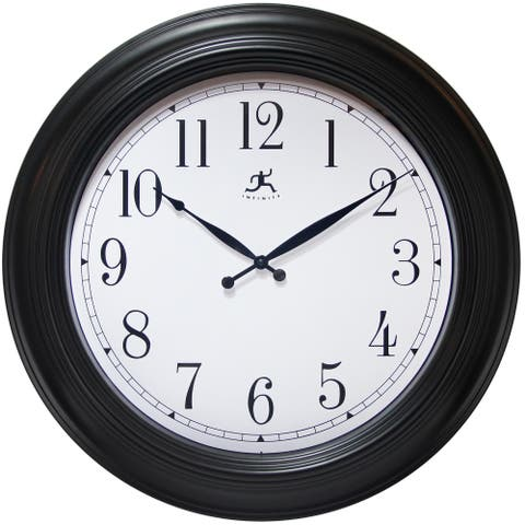 Classic Black Large Wall Clock 24 inch by Infinity Instruments - 4 x 27 x 26