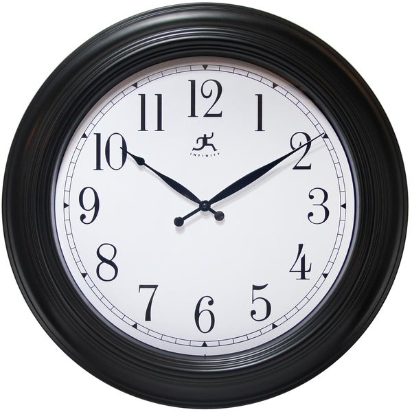 shop 24 inch black wall clock classic by infinity instruments free shipping today overstock. Black Bedroom Furniture Sets. Home Design Ideas