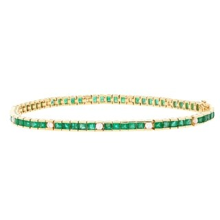 14K Yellow Gold Emerald and Diamond Bracelet by Anika And August - White