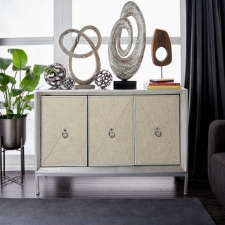 """47"""" x 32"""" Silver Metal Cabinet with Mirror Top and Linen-Covered Shelves by Studio 350"""