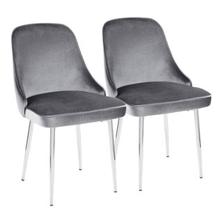 Marcel Contemporary Dining Chair with Metal Frame and Velvet Fabric (Set of 2)