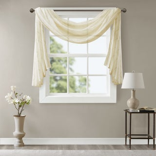 Madison Park Iris Diamond Sheer Embroidered Window Curtain Scarf (More options available)