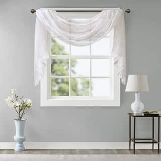 Madison Park Iris Diamond Sheer Embroidered Window Curtain Scarf|https://ak1.ostkcdn.com/images/products/17652288/P23864061.jpg?impolicy=medium