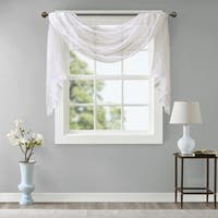 Madison Park Iris Diamond Sheer Embroidered Window Curtain Scarf