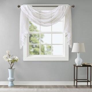 Madison Park Iris Diamond Sheer Embroidered Window Curtain Scarf (5 options available)
