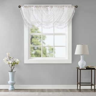 Madison Park Iris Diamond Sheer Embroidered Waterfall Rod Pocket Valance
