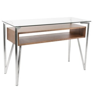 Hover Mid-Century Modern Console Table with Brushed Stainless Steel Frame, Walnut Wood Shelf, and Clear Glass