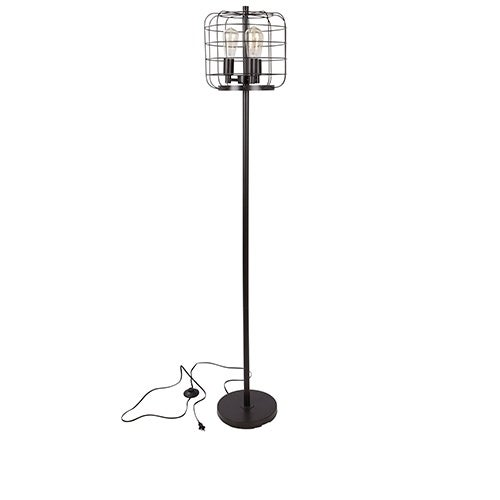 Indy Cage Floor Lamp with Antique Finished Metal