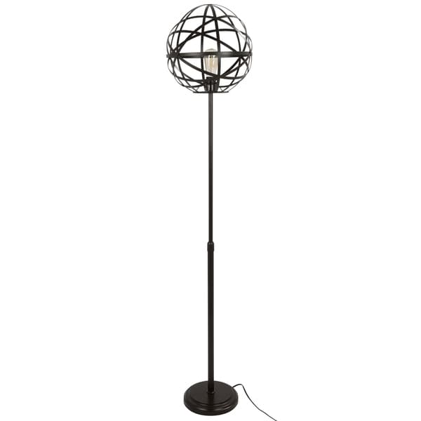 Linx Industrial Floor Lamp with Antique Finished Metal and Oval Shade