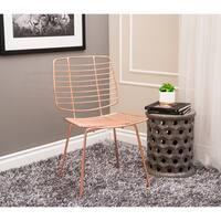 Abbyson Milo Iron Accent Chair, Rose Gold