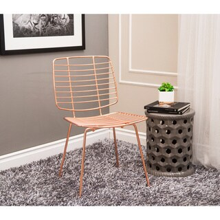 Abbyson Milo Iron Accent Chair, Rose Gold