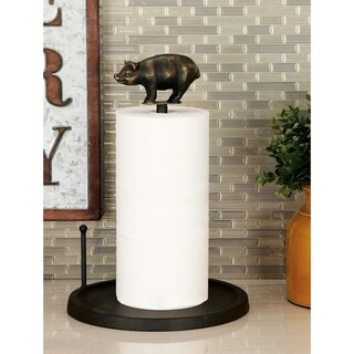 Farmhouse 14 Inch Iron Pig Paper Towel Holder by Studio 351