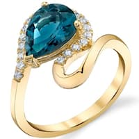 Oravo 14k Yellow Gold 2 ct Genuine London Blue Topaz Pear-Shaped Swirl Ring