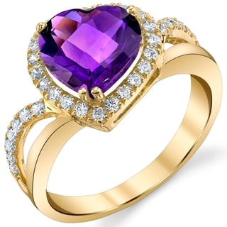 Oravo 14k Yellow Gold 2 25 Ct Genuine Amethyst Leaning Heart Shaped Ring Purple