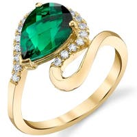 Oravo 14k Yellow Gold 1.7 ct Lab-Created Emerald Pear-Shaped Swirl Ring - Green