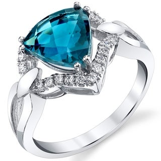 Oravo 14k White Gold 2.5 ct London Blue Topaz Regalia Ring