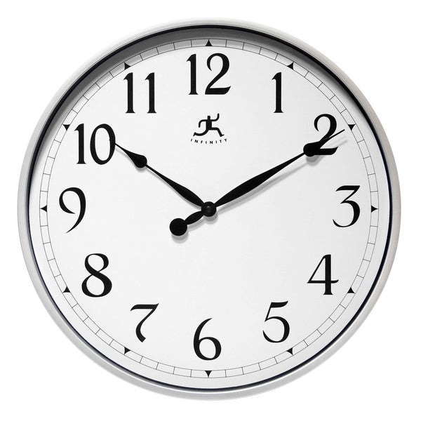 Silver Office Easy-To-Read Wall Clock 18 inch by Infinity Instruments - 19 x 21 x 3