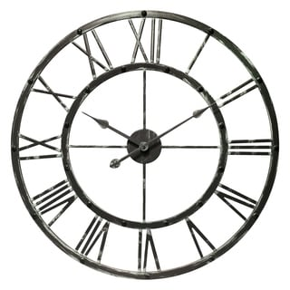 27.75 inch Antique Gray Metal Wall Clock Lancelot by Infinity Instruments