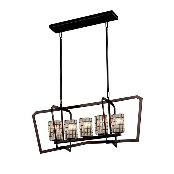 Justice Design Group Wire Glass Aria 5-light Dark Bronze Chandelier, Grid with Clear Bubbles Cylinder - Flat Rim Shade