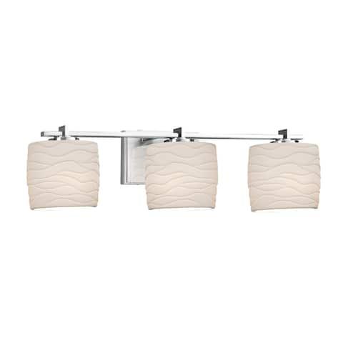 Justice Design Limoges Era 3-light Polished Chrome Bath Bar, Waves Oval Shade