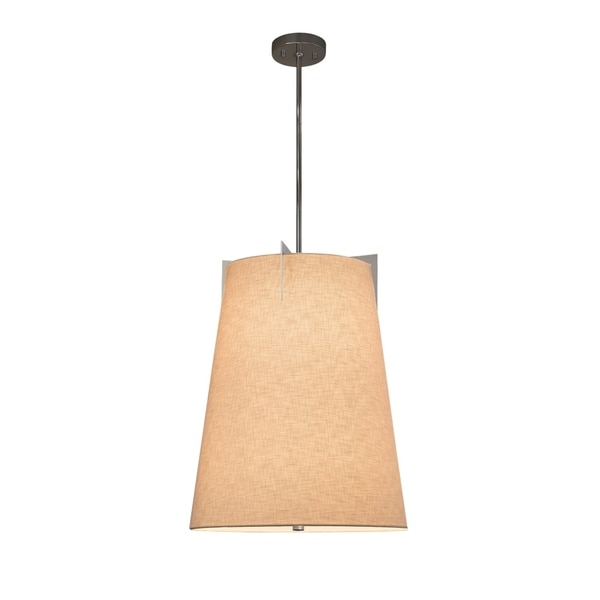 Justice Design Group Textile Midtown 2-light Brushed Nickel Pendant, Cream Shade