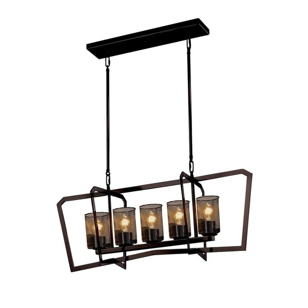 Justice Design Group Wire Mesh Aria 5-light Dark Bronze Chandelier, Cylinder - Flat Rim Shade