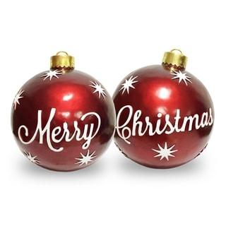 Red 26-inch 2-piece Christmas Ornament Set