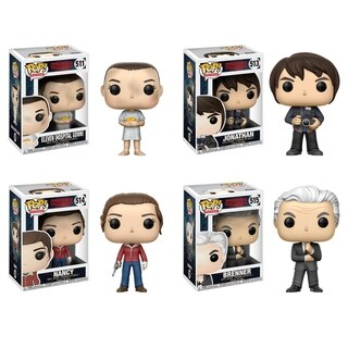 Funko POP! Television Stranger Things Collectors Set; Eleven w/ Hospital Gown, Jonathan w/ Camera, Nancy w/Gun, Brenner