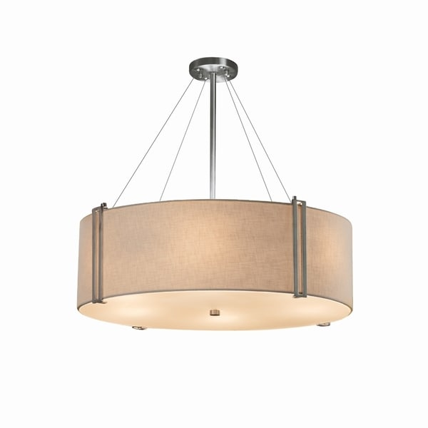 Justice Design Group Textile Reveal 36-inch Brushed Nickel Pendant, Cream Shade