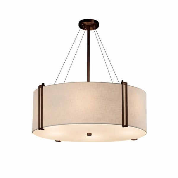 Justice Design Group Textile Reveal 48-inch Dark Bronze Pendant, White Shade