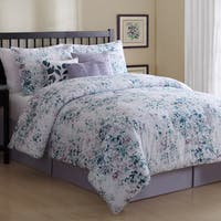 Petra 7 Piece Comforter Set with Bed Skirt and 3 Decorative Accent Pillows Queen Size (As Is Item)