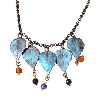 Handmade Patina Leaves Necklace - Copper Chain - Gemstones (USA)