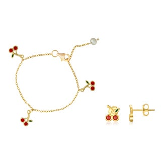 Pearlyta 14K Gold Plated 4mm Pearl and Cherry Charm Chain Bracelet and Earring Set - Red